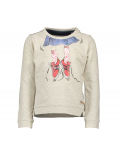 Moodstreet - Girls Sweater Dog Artwork - Off White Melee