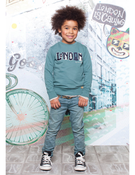 Moodstreet - Boys Sweater Solid Rib cu - Cool Green