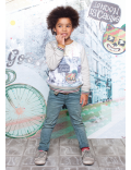 Moodstreet - Boys All Over Print Sweater - Grey Melee - Babbediboe