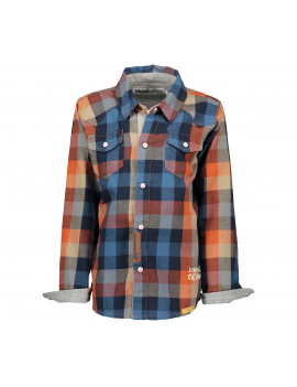 Moodstreet - Boys Check Blouse - Cool Orange