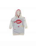 Claesen's - Girls Hooded Sweater Dress - Off White Grey Melee