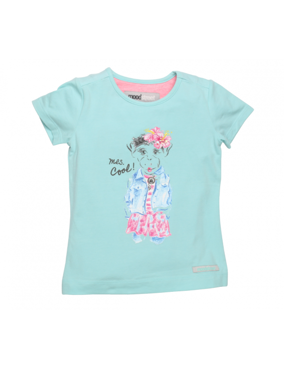 Moodstreet - Girls ss A - shape t - shirt - Fresh Turquoise