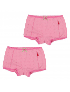 Claesen's - Girls 2-pack Boxershorts - Pink Embroidery