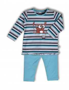Woody - Pyjama - Petrol Grijsblauw Streep