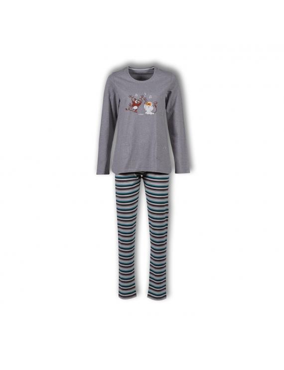 Woody - Pyjama - Grijs Petrol gestreept