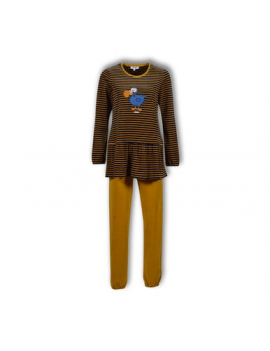 Woody - Pyjama - Donkerblauw oker gestreept