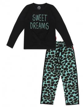 Claesen's - Girls Pyjama - Green Panther