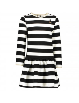 Le Chic - Jurk - Relief Stripe (Black/White)