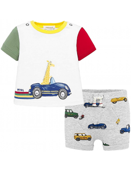 Mayoral - Set Short + T-Shirt - Cars - Oregano
