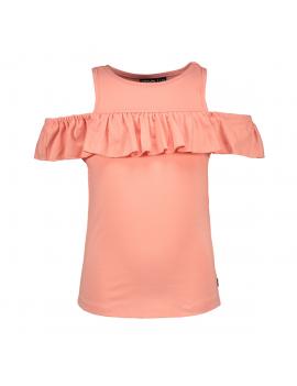 Like Flo - Off-Shoulder Shirt - Coral