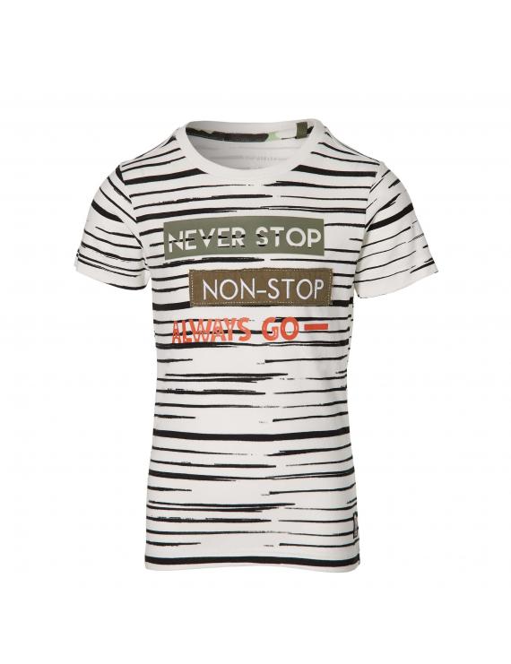 Quapi - T-Shirt - Faber - Off White Stripe
