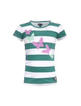 LoffF - T-shirt - Blockstripe - Ocean Green White