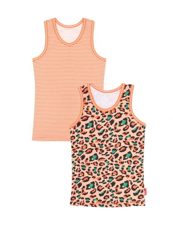 Claesen's - Girls 2-Pack Singlet - Panther Stripes