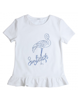 Gymp - T-shirt - Flamingo - White/Blue