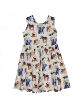 Gymp - Dress - Animals - Off White / Multi