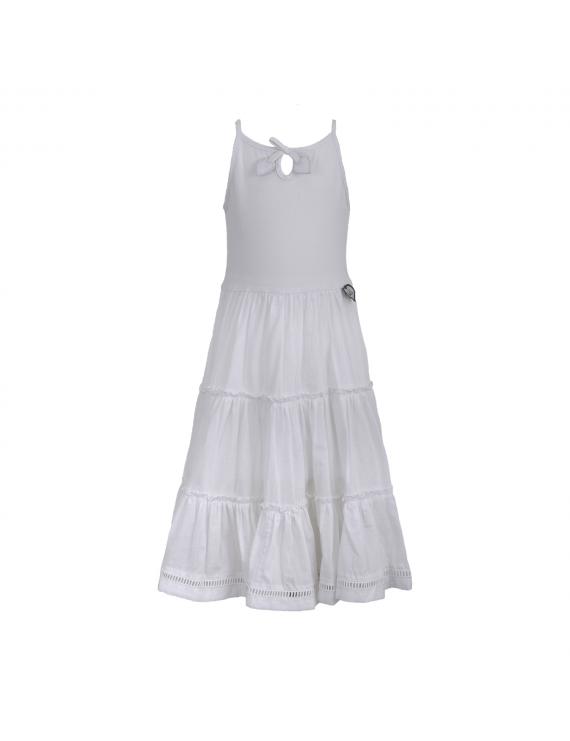 LoFff - Jurk - Tiered Dress Maxi White