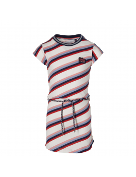 Quapi - Jurk - Fab - White Multi Stripe