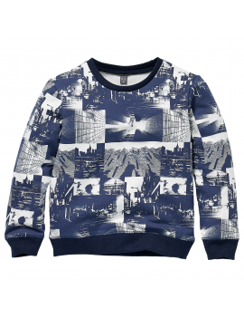 Quapi - Sweater - Kenzio - AOP Blue Dark Photo Print
